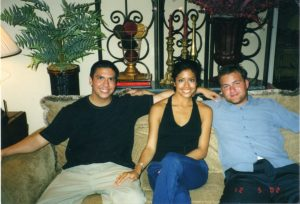 From left: Bryan Reyna, his sister Jessica Ann Sandifer and Zach Jennings. Taken right before a Spurs/Sixers game in December of 2002. Reyna was dressed in a Spurs championship T-shirt when he was cremated.
