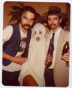 Blaze Foley with Gurf Morlix — dressed as each other — and unknown ghost on Halloween. (Courtesy Gurf Morlix)