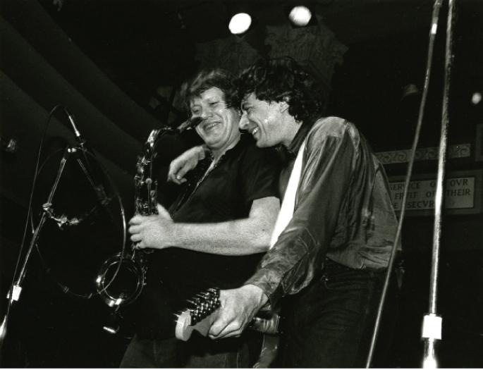 Joe Ely and Bobby Keys onstage in 1986. (Photo courtesy Joe Ely)