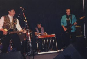 Joe Ely, Lloyd Maines and Jesse Taylor at Sons of Hermann Hall in 1995. (Courtesy Lloyd Maines)