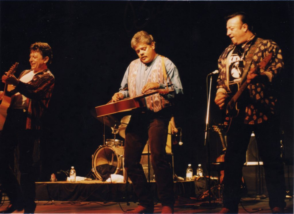 Three Amigos from Lubbock: Joe Ely, Lloyd Maines and Jesse Taylor onstage in the '90s.