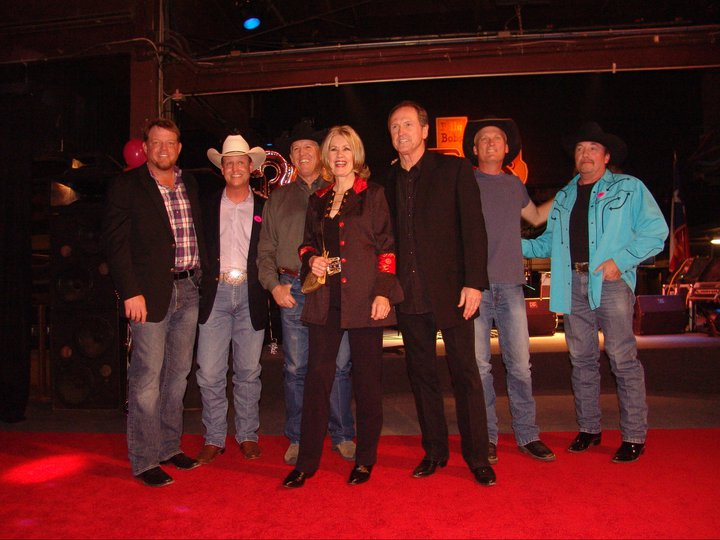 The Billy Bob's All-Stars: (from left) Pat Green, Blaine Gray, Dan Roberts, Janie Fricke, Rudy Gatlin, Kevin Fowler, and Rob Dixon. (Photo by Pam Minick)
