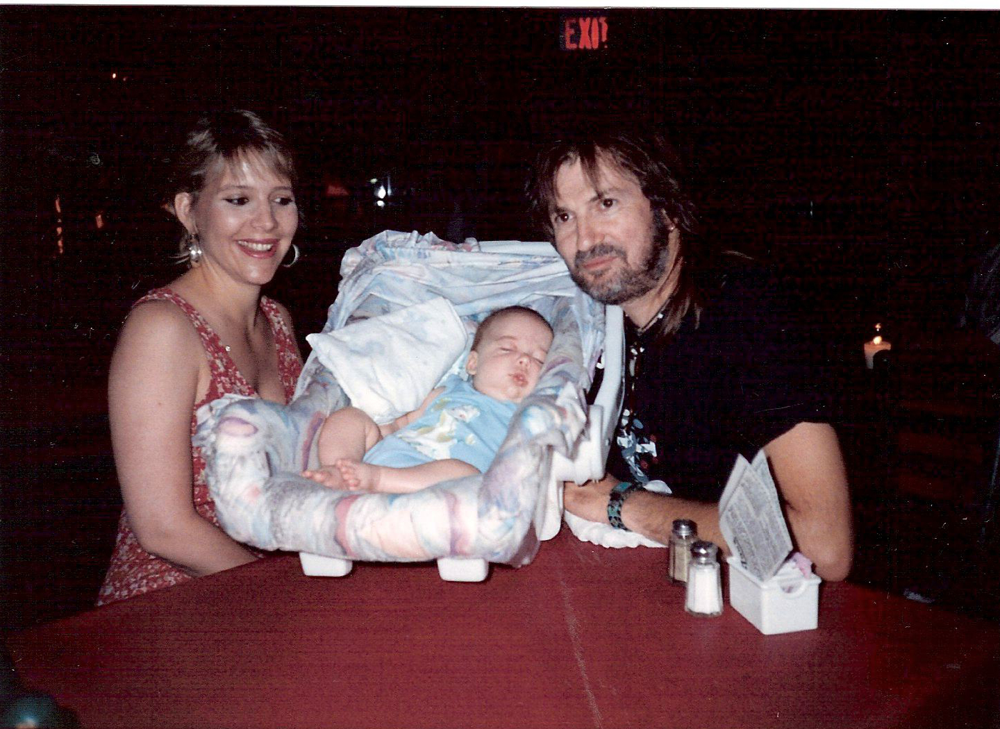 Judy and Ray Wylie with their six-week-old son, Lucas, at his very first gig. Lucas now plays guitar in his dad's band. (Courtesy Judy Hubbard)