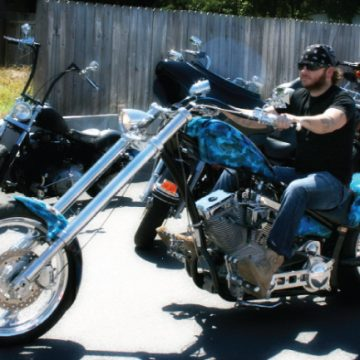 "Stoney rode his custom Demented Cycles chopper in the ""Ridin' for a Reason"" event in September, helping to raise more than $30,000 for the Leukemia & Lymphoma Society. (Photo by Melissa Webb)"