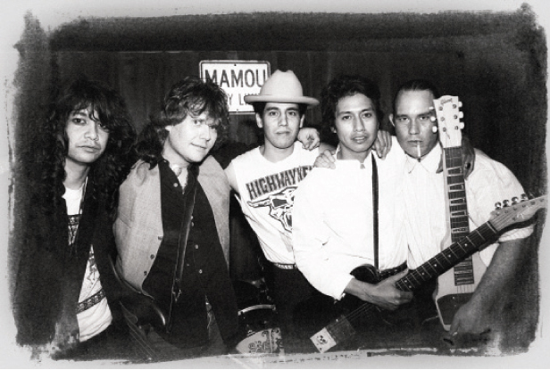 True Believers in 1988: Javier Escovedo, J.D. Foster, Hector Munoz, Alejandro Escovedo, and Jon Dee Graham (Photo by Todd Wolfson)