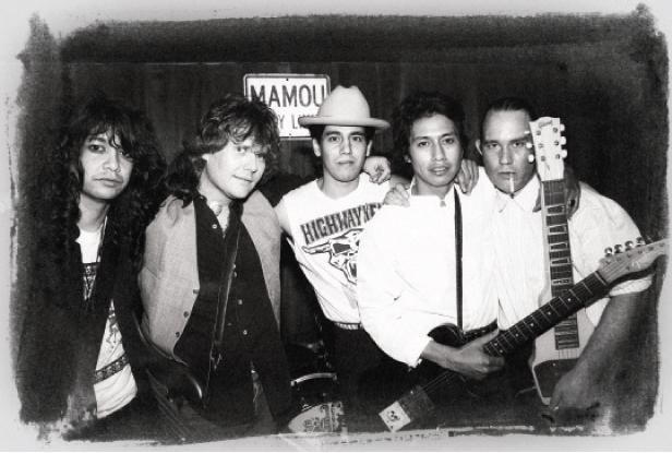 True Believers in 1988: Javier Escovedo, J.D. Foster, Hector Munoz, Alejandro Escovedo, and Jon Dee Graham (Photo by Todd Wolfson)