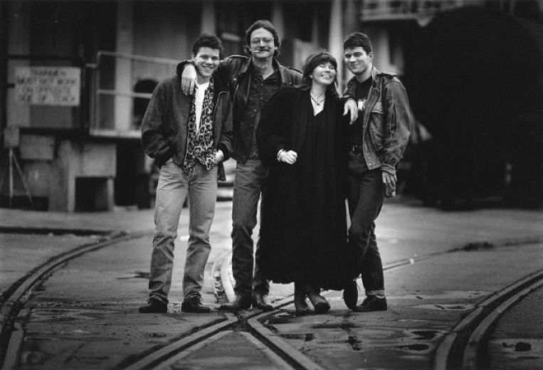 All in the Allen family: (from left) Bukka, Terry, Jo Harvey, and Bale Allen outside San Francisco's Theatre Artaud during the performance run of the theater piece they wrote and starred in together, Do You Know What Your Children Are Tonight? 1987. Photo courtesy of San Francisco Chronicle, © Steve Ringman. (Taken from the book Terry Allen, Courtesy of University of Texas Press.)