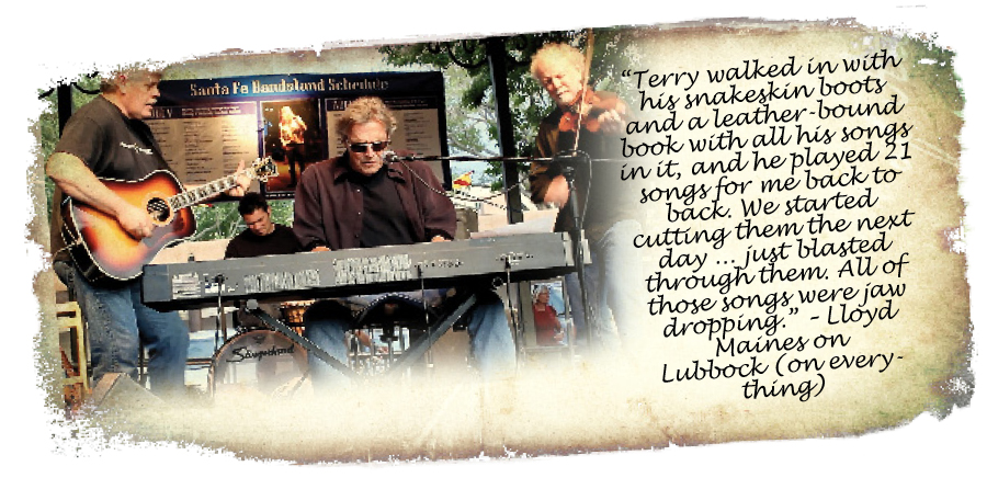 Lloyd Maines, Bale Allen, Terry Allen, Richard Bowden Aug 2012 at Santa Fe Bandstand (Photo by Mo McMorrow)
