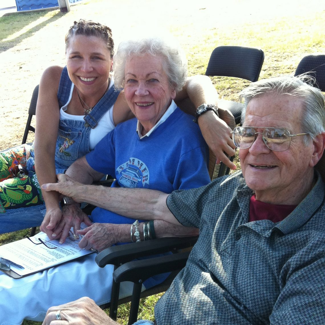 Terri Hendrix with Marie and Ron Jager at the San Marcos Summer in the Park Concert Series. (Courtesy Terri Hendrix)