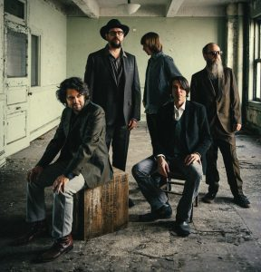 The Drive-By Truckers (2014 edition): L to R: Jay Gonzalez, Patterson Hood, Matt Patton, Mike Cooley, and Brad Morgan (Photo by David McClister)