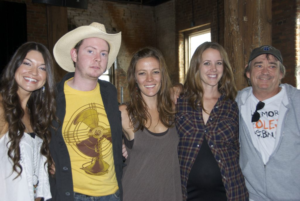 FULLBRIGHT & FRIENDS: Fullbright with (from left) Liz Foster, Kelley Mickwee, and Jamie Wilson of the Trishas, and his manager, Greg Johnson, at the 2012 Americana Music Festival & Conference in Nashville. (Photo by Lynne Margolis)
