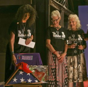 "Dalis Allen, Vickie Bell and Merri Lu Park, who cared for Rod Kennedy during the last days of his life, at the ""For the RodFather"" tribute. (Photo by Susan Roads)"