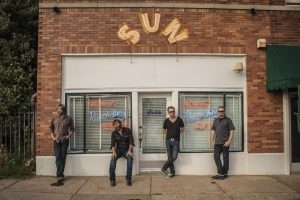 Lund and the Hurtin' Albertans outside Sun Studios in Memphis. (Photo courtesy New West Records)
