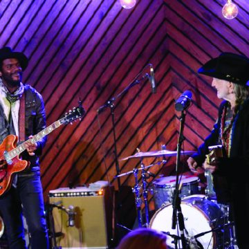 "Willie Nelson and Gary Clark Jr. taping ""Inside Arlyn Studios."" (Photo by Gary Miller)"