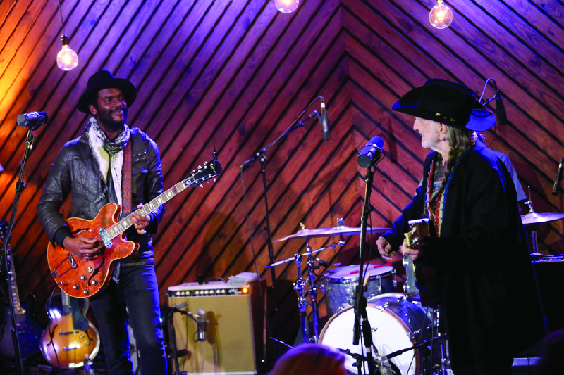 """Willie Nelson and Gary Clark Jr. taping """"Inside Arlyn Studios."""" (Photo by Gary Miller)"""