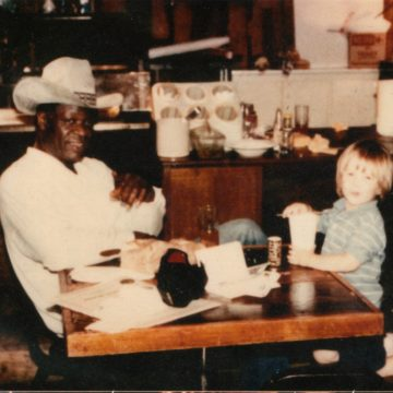 Colin, age 2,  and Charles Stubblefield at the original Stubb's in Lubbock. (Courtesy Colin Gilmore)