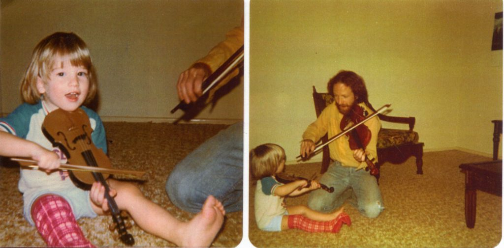 Colin learning fiddle from his stepfather, Richard Bowden, circa 1978.