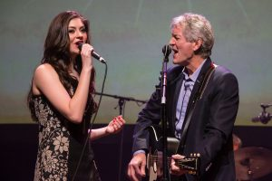 "Rodney Crowell and Mignon Grabois singing Will Jennings' ""Please Remember Me."" (Photo by Ted Parker Jr, Courtesy of the TXHSA)"
