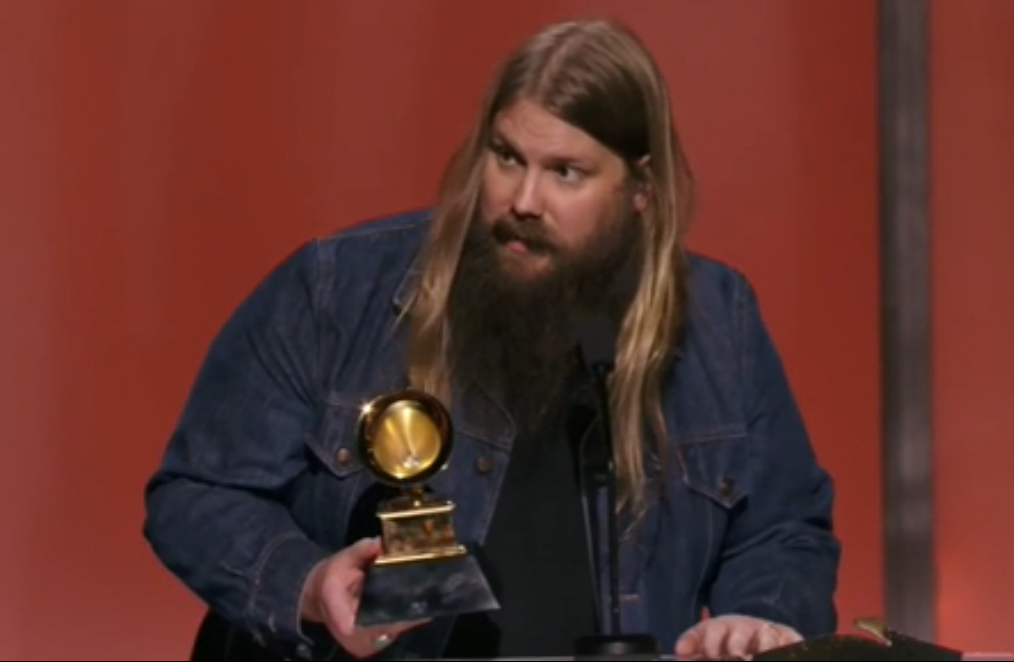 "Chris Stapleton accepting his Best Country Solo Performance for ""Traveller."" (From Grammy.com)"