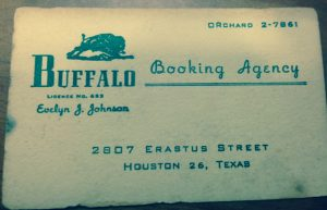 Evelyn Johnson's Buffalo Booking business card.