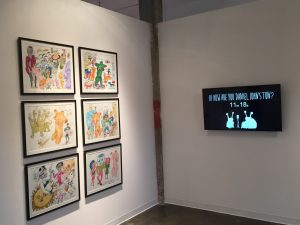 Part of the Daniel Johnston exhibit at Bale Creek Allen Gallery, featuring Johnston's original artwork and a short film by director Gabriel Sunday. (Photo by Richard Skanse)