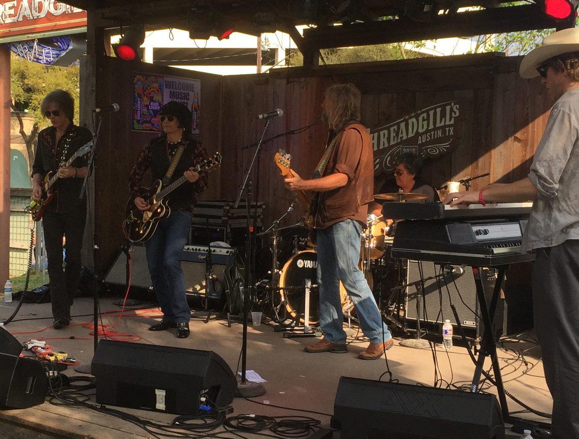 "Javier Escovedo and band (from left: Brad Rice, Escovedo, Michael ""Cornbread"" Traylor, Hector Munoz, and Matt Hubbard) at Threadgill's World Headquarters. (Photo by Richard Skanse)"