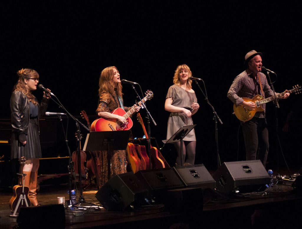 Servants of Love: (from left) Sara Watkins, Patty Griffin, Anais Mitchell and David Pulkingham at Bass Concert Hall. (Photo by Nichole Wagner)
