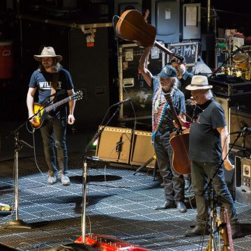 Neil and the Nelsons: (from left) Lukas Nelson, Willie Nelson and Neil Young at Whitewater Amphitheatre (Photo by Bill Porter)