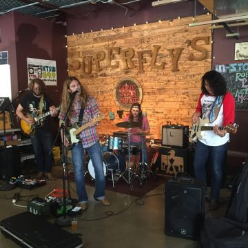 Austin Meade and band performing at Superfly's Lone Star Music Emporium. (Photo by Richard Skanse)