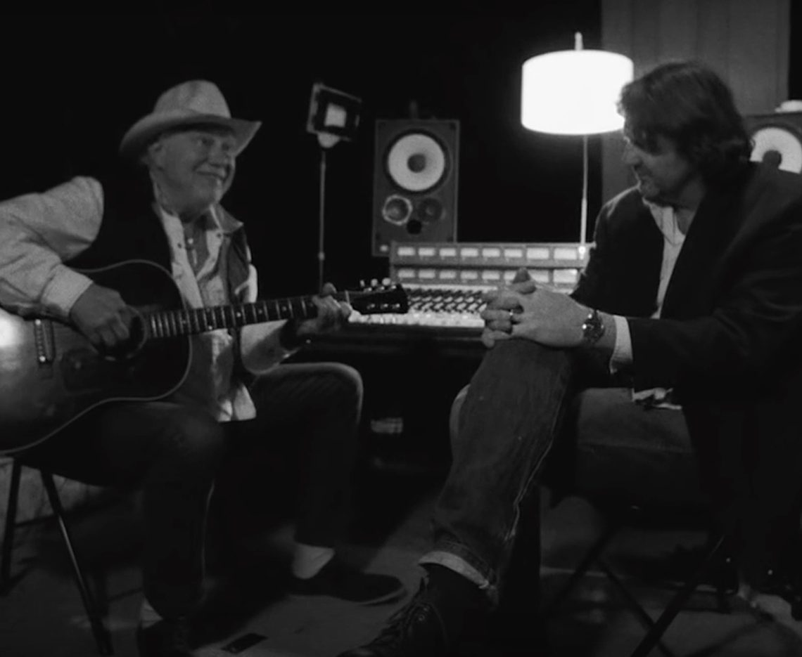 "Bruce Robison interviewing Jerry Jeff Walker on the first episode of ""The Next Waltz."" (Screen grab from Spencer Peeples film)"