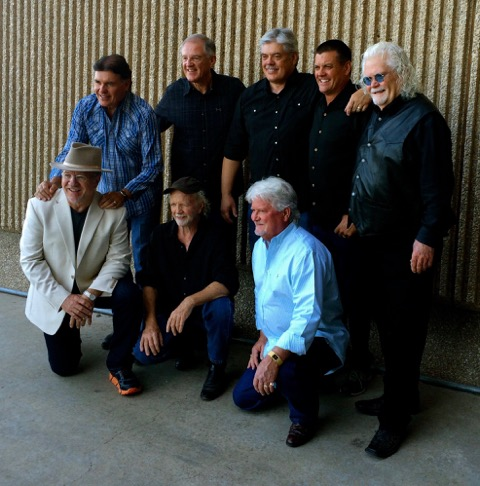 The Maines Brothers Band, 2015: (from left, standing) Kenny Maines, Steve Maines, Lloyd Maines, Donnie Maines, Jerry Brownlow; (from left, kneeling) Carey Banks, Richard Bowden, Randy Brownlow (Photo by T.G. Caraway)