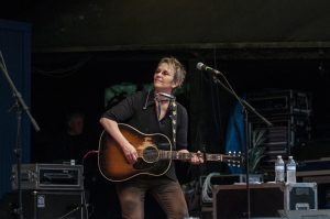 Mary Gauthier performing at Kerrville on Sunday, May 29. (Photo by Nichole Wagner)
