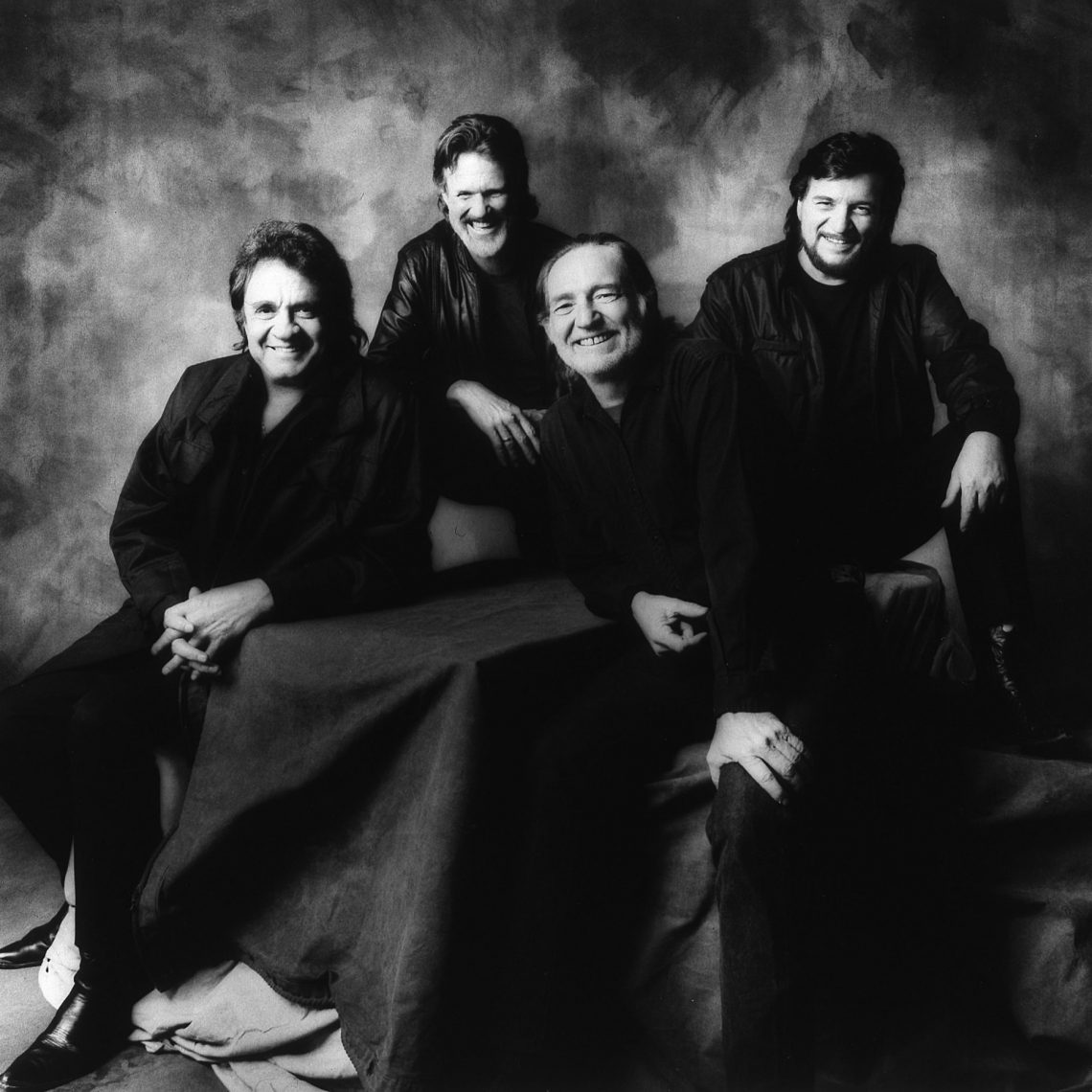 Country music's Mount Rushmore: Johnny Cash, Kristofferson, Willie Nelson and Waylon Jennings (Photo by  Jim McGuire)