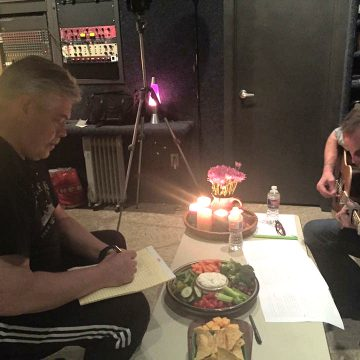 "Woodshedding: Musical director Lloyd Maines and Jason Eady working out the arrangement for ""Errol's Song"" at the Cheatham Street Woodshed recording studio in San Marcos. (Photo Courtesy Jenni Finlay and Brian T. Atkinson)"