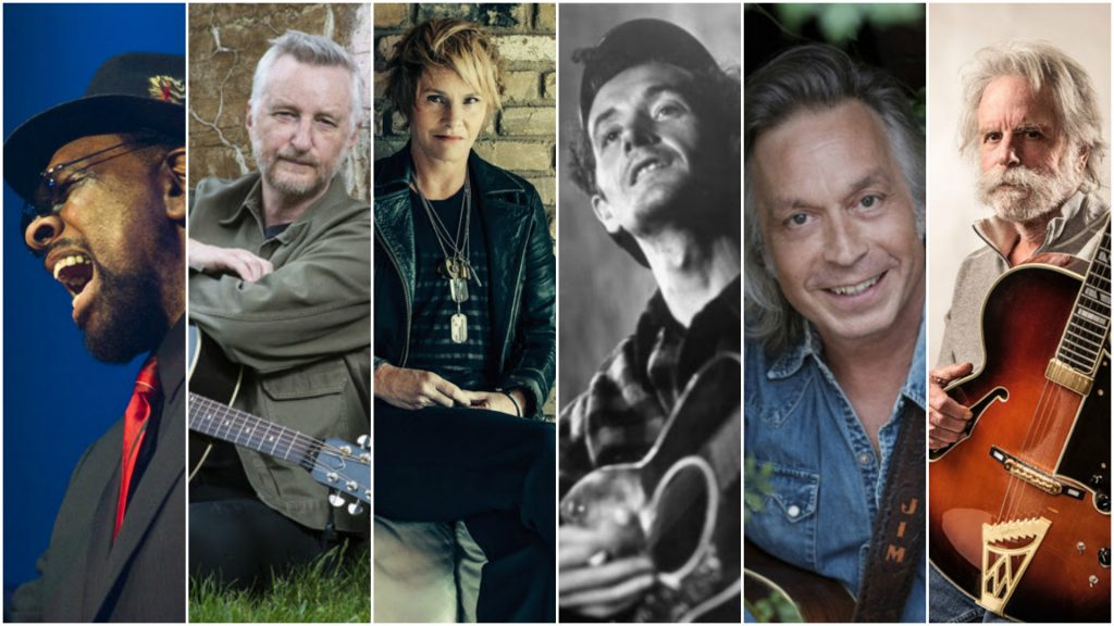 Lifetime Achievement Honorees (from left) William Bell, Billy Bragg, Shawn Colvin, Woody Guthrie, Jim Lauderdale, and Bob Weir (Photo courtesy AmericanaMusic.org)