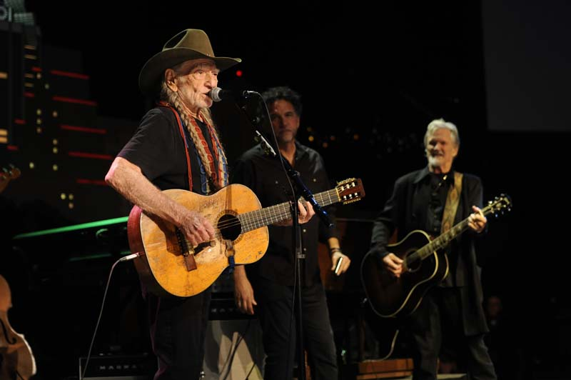 "Willie Nelson, Mickey Raphael and Kris Kristofferson revisiting ""Me and Bobby McGee."" (Photo by Scott Newton, Courtesy KLRU-TV/Austin City Limits)"