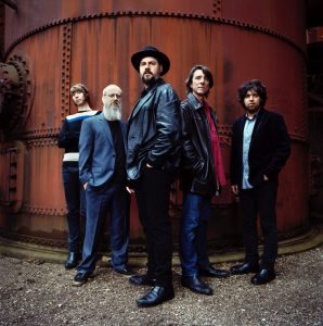 The Drive-By Truckers, from left, are Matt Patton, Brad Morgan, Patterson Hood, Mike Cooley, and Jay Gonzalez. (Photo by Danny Clinch)