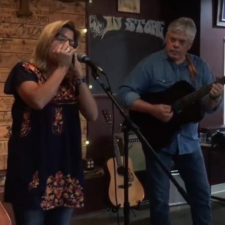 "Terri Hendrix and Lloyd Maines performing Guy Clark's ""The Dark"" at Superfly's. (Photo by Richard Skanse)"