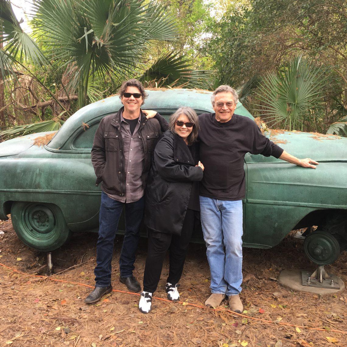Family Car Trip: Terry Allen (right) with wife Jo Harvey and son Bukka Allen at Laguna Gloria in Austin. (Photo by Richard Skanse)