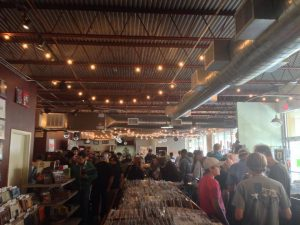 Vinyl lovers packing Superfly's Lone Star Music Emporium for Record Store Day, 2014.