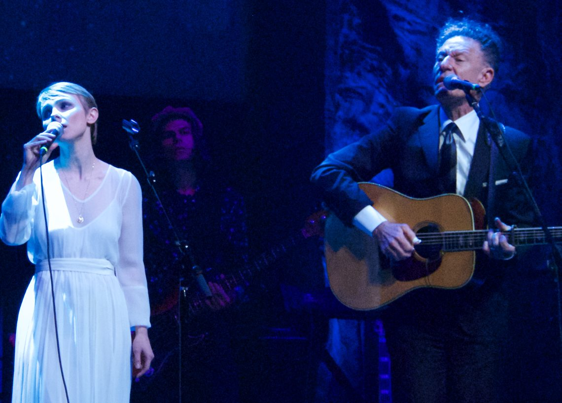 "Kat Edmonson and Lyle Lovett singing Townes Van Zandt's ""If I Needed You"" at the Austin Music Awards. (Photo by Lynne Margolis)"