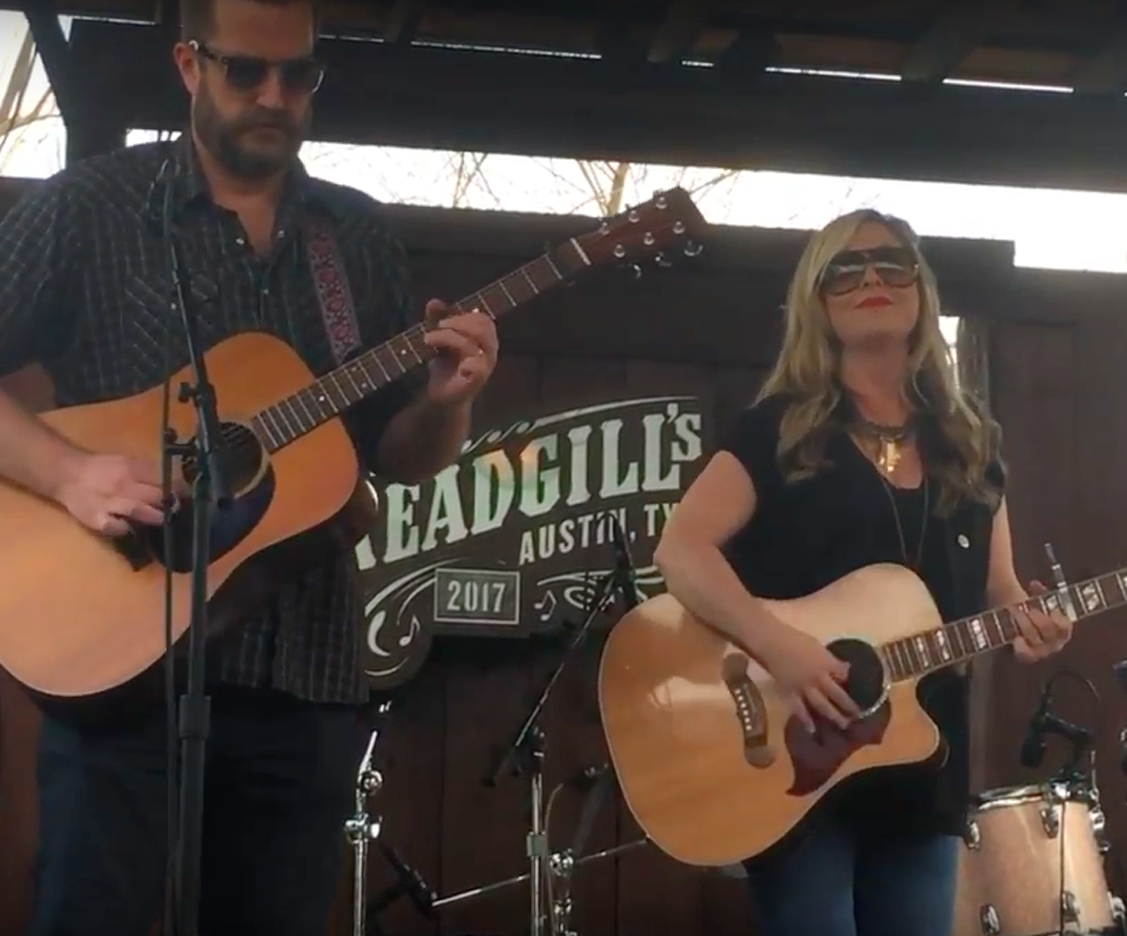 """Sunny Sweeney and guitarist Harley Husband serving up a """"Better Bad Idea"""" at the LSM/KOKE-FM Dillo Mixer."""
