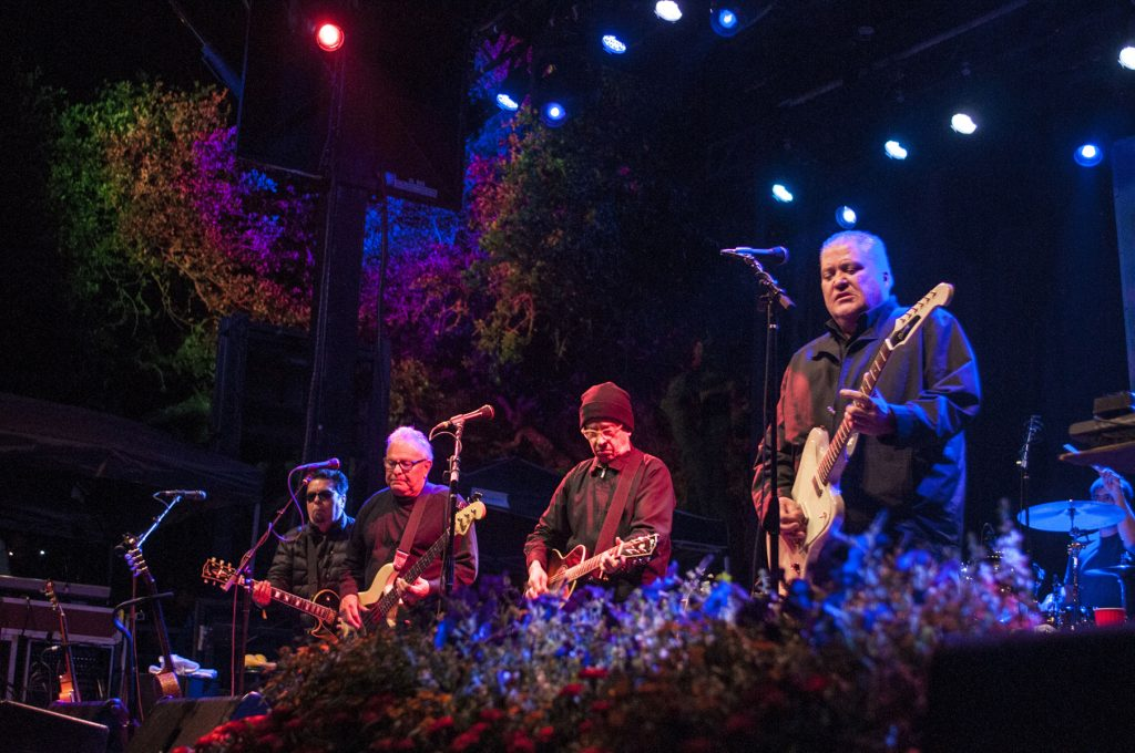 """Everybody, cumbia!"" Los Lobos dishing out ""Mas Y Mas"" on the Hill Country Stage. (Photo by Nichole Wagner)"