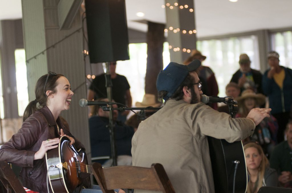 Sarah Jarosz and Anthony Da Costa leading a songwriting seminar. (Photo by Nichole Wagner)