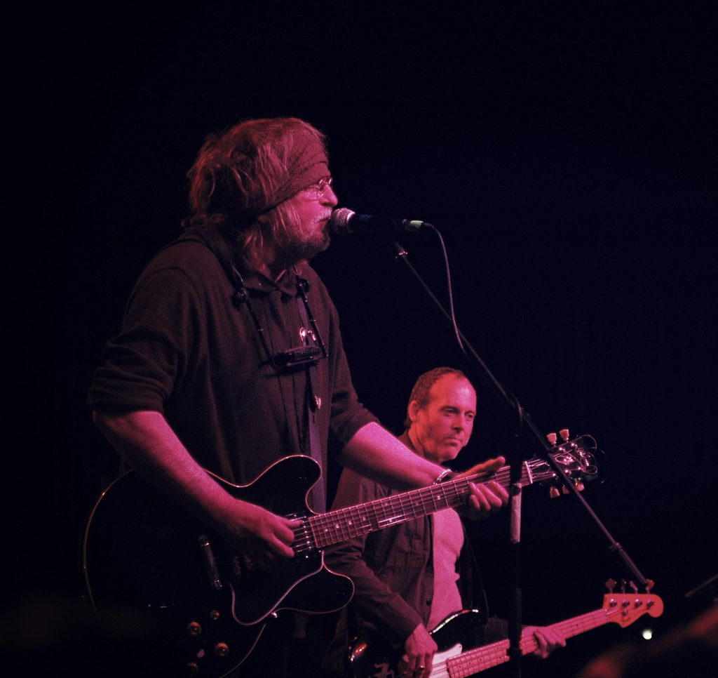 "Ray Wylie Hubbard and George Reiff at the ""Help Austin Help Haiti Benefit"" at Austin Music Hall on Jan. 26, 2010. (Photo by Nichole Wagner)"