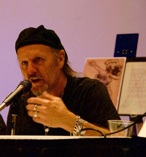 Jimmy LaFave addressing Woody Guthrie's continued relevance on a panel at the 2016 Americanafest in Nashville. (Photo by Lynne Margolis)