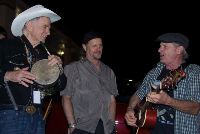 Night Folk: 4 a.m. Woodyfest jam session with David Amram, Jimmy LaFave, and Butch Hancock. (Photo by Lynne Margolis)
