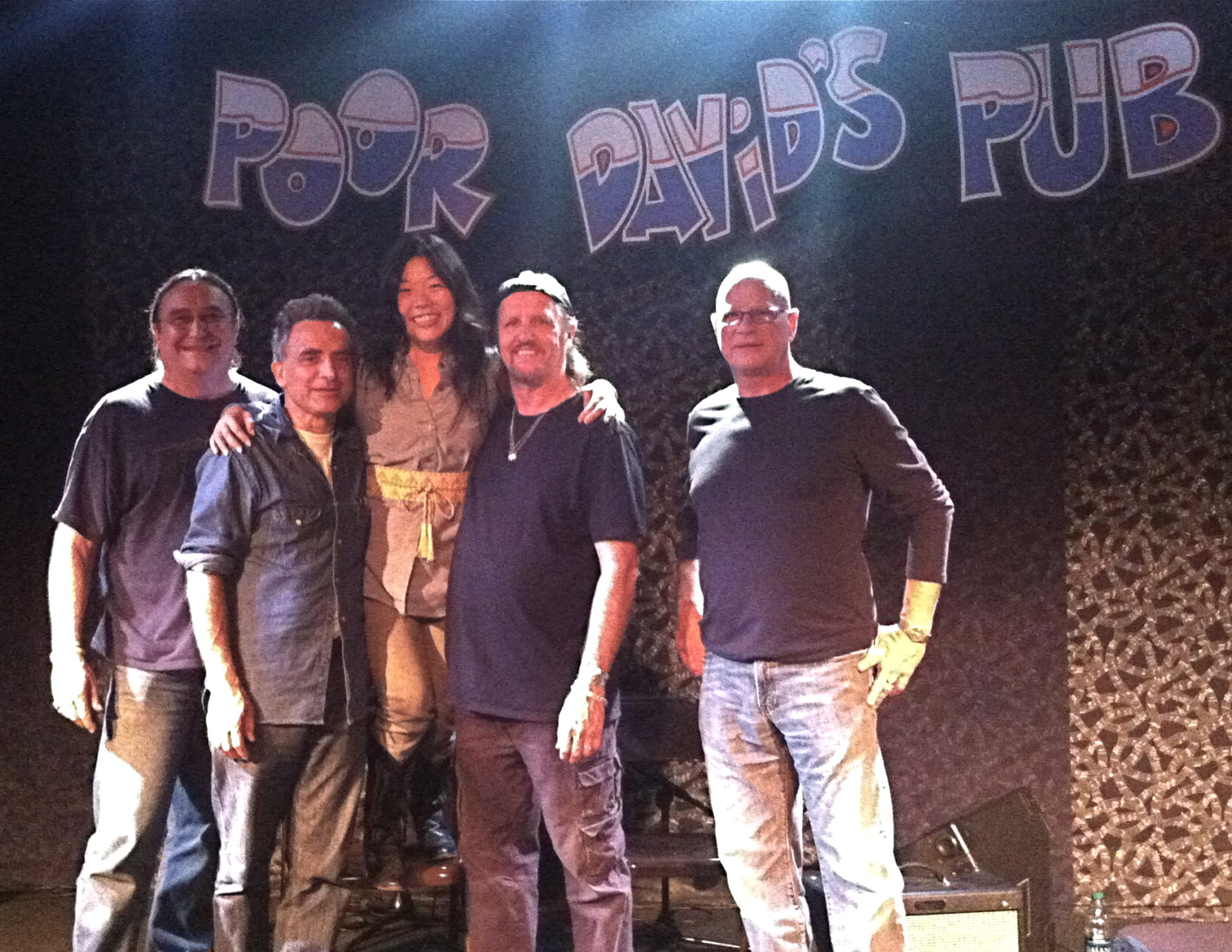 LaFave's Favs: (from left) Bobby Kallus, Michael Fracasso, BettySoo, Jimmy LaFave and Glenn Schuetz at Poor David's Pub in 2012. (Photo by Tiffany Walker)