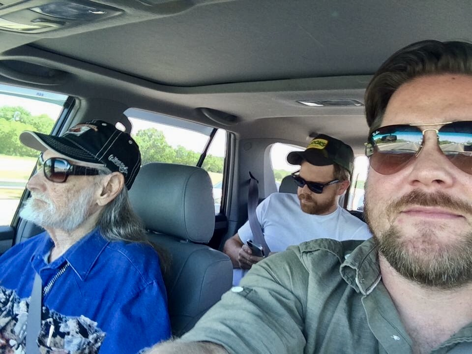 On the road again: (from left to right) Ben Dorcy, assistant to Willie Nelson; Joel Schoepf, assistant to Ben Dorcy; Kyle Wieters, assistant to Joel Schoepf. (Photo courtesy of Kyle Wieters)