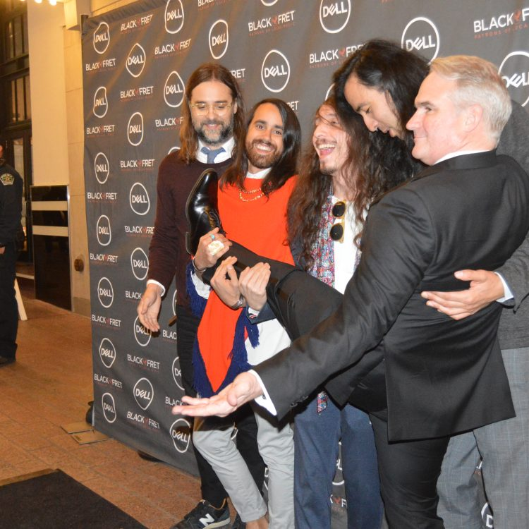 Bright Light Social Hams: Black Fret co-founder Matt Ott (far right) goofing around with 2017 major grant winners Bright Light Social Hour. (Photo by Richard Skanse)